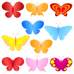 cartoon colorful butterflies set