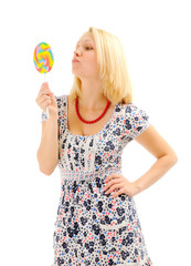 Attractive blonde with lollipop