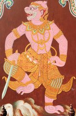 """Traditional Thai style painting. """"Ramayana"""". This is traditional"""