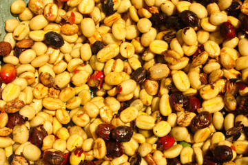 Coffee beans, skinless, raw, roasted before