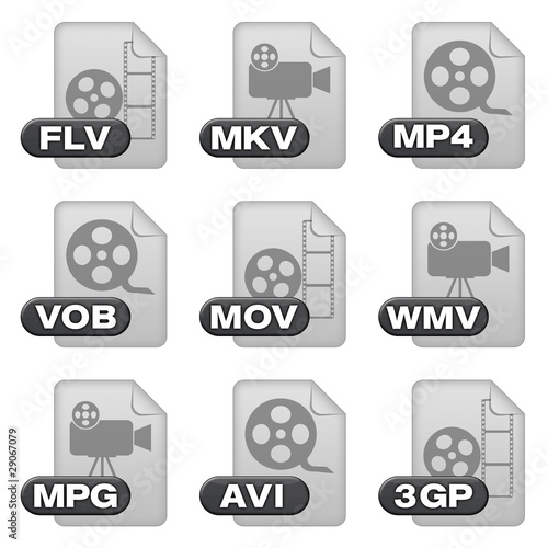 Icon-Set - video formats (isolated + clipping-lines) (01)