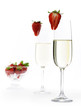 champagne with strawberries