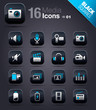 Black Squares - Media Icons 01