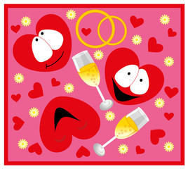 Vector illustration. Valentines heart smile.