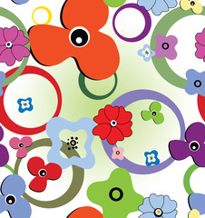 Seamless colourful pattern with flowers and rings