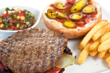 Grilled steak fillet with french fries and sauce