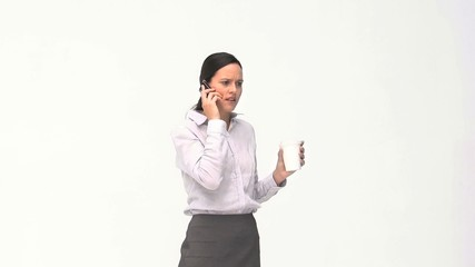 Angry women talking on her phone