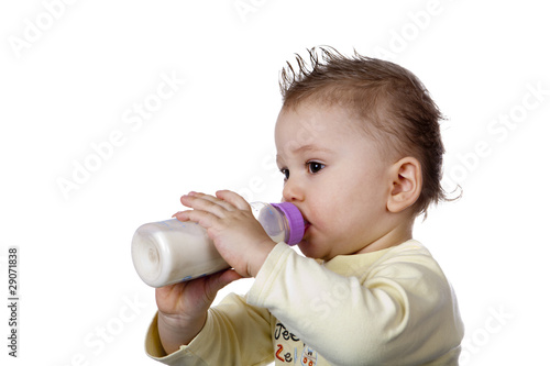 Baby is drinking milk