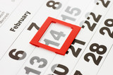 Sheet of wall calendar with red mark on 14 February - Valentines poster