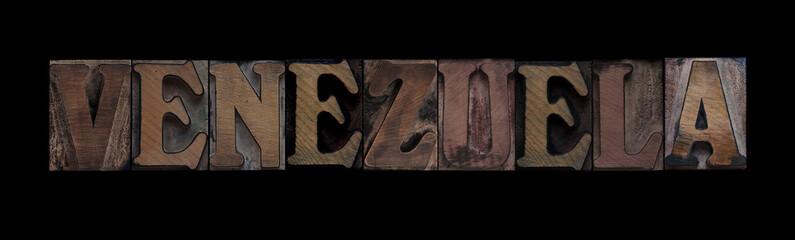 the word Venezuela in old letterpress wood type