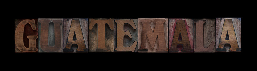 the word Guatemala in old letterpress wood type