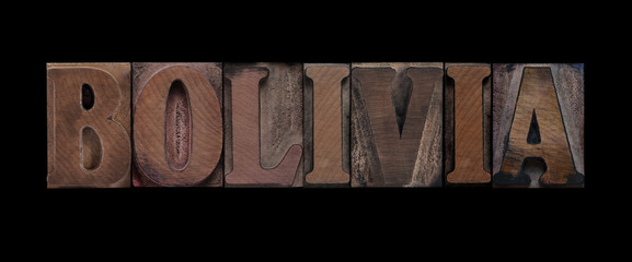 the word Bolivia in old letterpress wood type