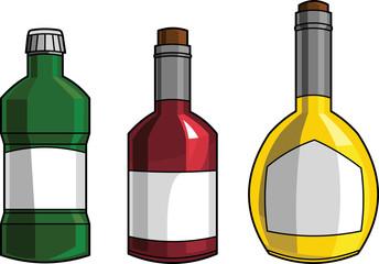 Tre bottiglie colorate