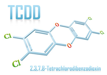 Structural formula of TCDD - Dioxin