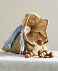 small sack with hazelnuts