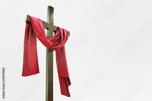 Wooden Cross with Red Cloth - 29079840