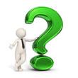 3d business man - Green question mark