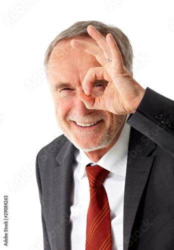 Mature business man with positive vision field