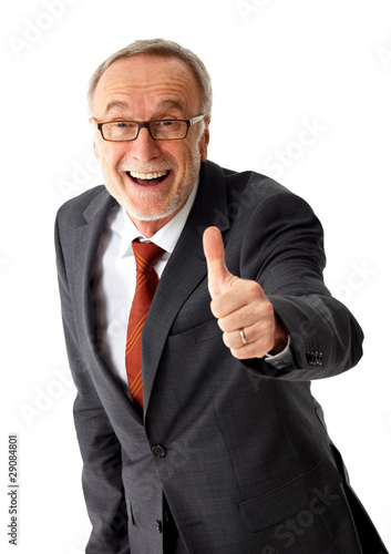 mature business man with thumb up