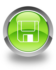 floppy disk thin icon on green button