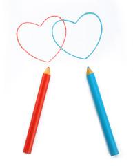Pencils depicting the heart.