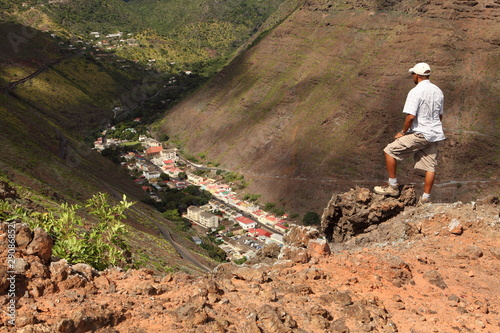 Man hiking above Jamestown St Helena Island