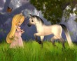 Obrazy na płótnie, fototapety, zdjęcia, fotoobrazy drukowane : Cute Toon Fairytale Princess and Unicorn