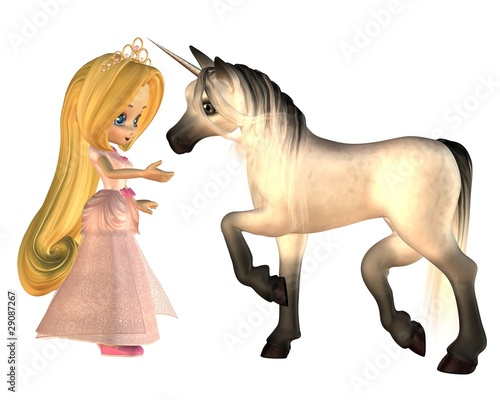 Poster Pony Cute Toon Fairytale Princess and Unicorn