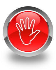 stop hand icon on red star button