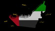 planes departing UAE map flag animation