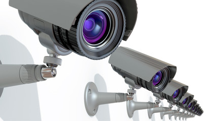surveillance cameras, 3d illustration