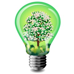 Lampadina con Albero-Energia Pulita-Echological Bulb-Vector