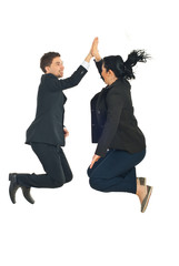 Business people high five in the air