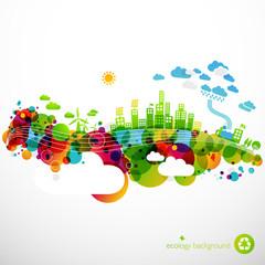 rainbow ecotown - modern abstract ecology town illustration