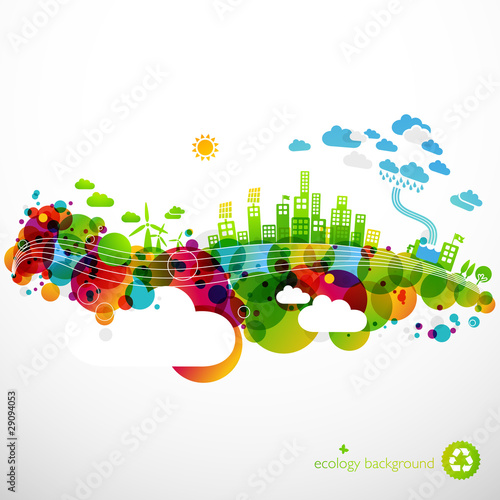 rainbow ecotown - modern abstract ecology town illustration