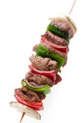 brochette de carne y vegetales
