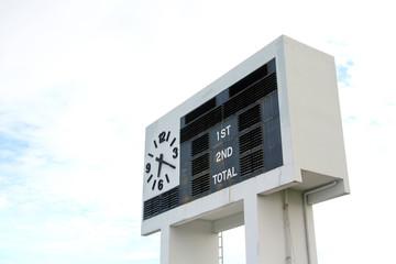 score board on a football stadium