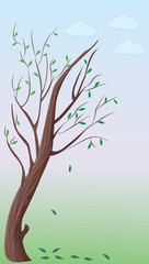 illustration of a bent tree