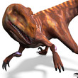 Dinosaur Deinonychus. 3D rendering with clipping path and