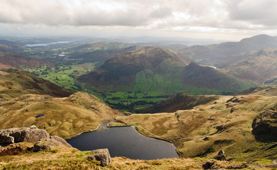 Stickle tarn and Langdale Valley