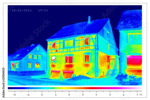 Leinwandbild Motiv thermal imaging of old houses in a village