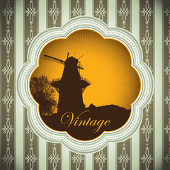 Designed vintage background with windmill.