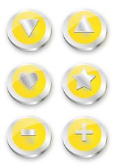 Metal button Yellow Symbols Set