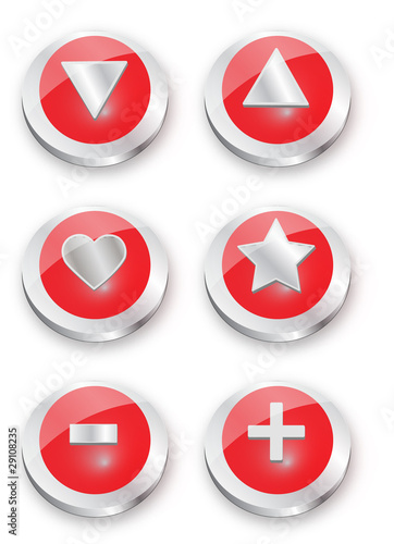 Metal button Red Symbols