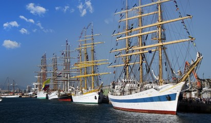 Group of tall ships tied up in Alicante