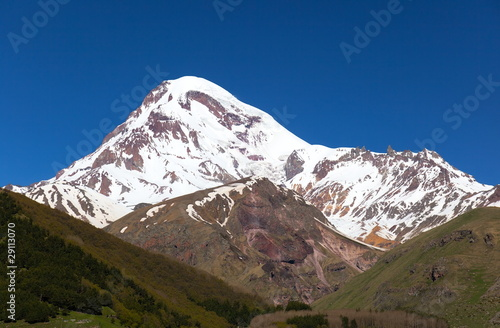 View of Mount Kazbek, near Stepantsminda. Georgia.