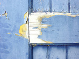 Door detail, wood painted blue