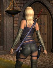 junge bewaffnete Frau von hinten