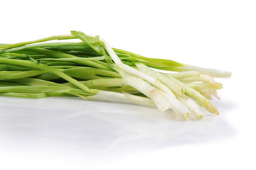 Bunch of green onion isolated on the white background