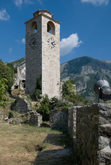 old tower with clock in Bar in Montenegro